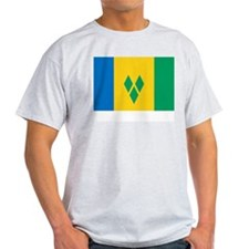 Saint Vincent Flag Picture Ash Grey T-Shirt