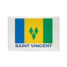 Saint Vincent Flag Gear Rectangle Magnet