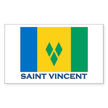 Saint Vincent Flag Gear Rectangle Sticker