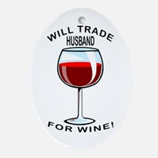 Wine For Husband Oval Ornament