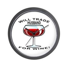 Wine For Husband Wall Clock