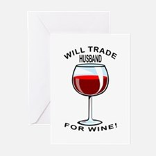 Wine For Husband Greeting Cards (Pk of 10)