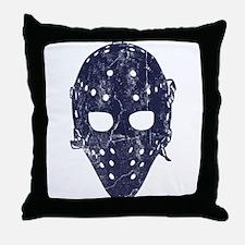 Vintage Hockey Goalie Mask (dark) Throw Pillow