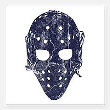 Vintage Hockey Goalie Mask (dark) Square Car Magne