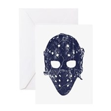 Vintage Hockey Goalie Mask (dark) Greeting Card