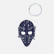 Vintage Hockey Goalie Mask (dark) Keychains