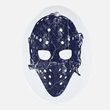 Vintage Hockey Goalie Mask (dark) Ornament (Oval)