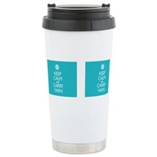 Cute Keep calm and carry yarn Travel Mug