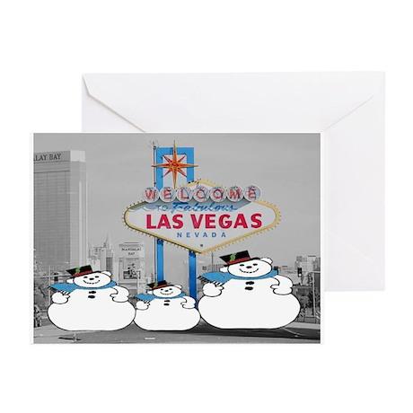 Las Vegas Snowmen Greeting Cards (Pk of 20)