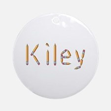 Kiley Pencils Round Ornament