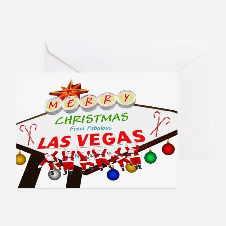 Hanging Santas LV Christmas Greeting Cards Pk 20