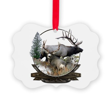Big Game elk and deer Picture Ornament