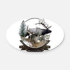 Big Game elk and deer Oval Car Magnet