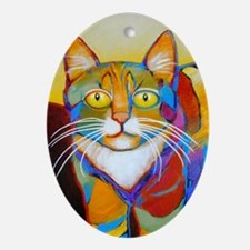 Cat-of-Many-Colors Ornament (Oval)