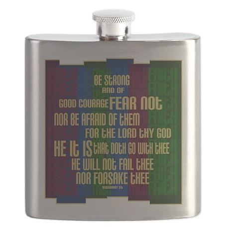 Deuteronomy 31 6 Faith Stripes Flask