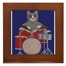 Cat Drummer on Blue Framed Tile