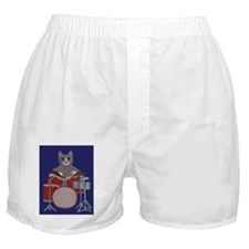 Cat Drummer on Blue Boxer Shorts