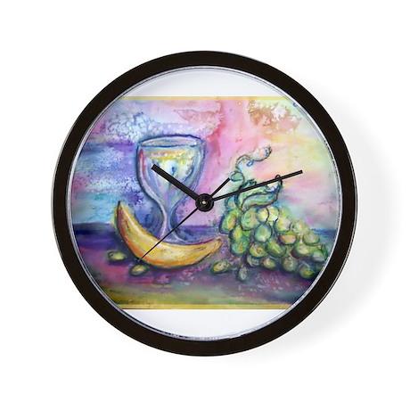 Wine, fruit, colorful art! Wall Clock