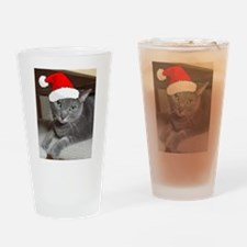 Christmas Russian Blue Cat Drinking Glass