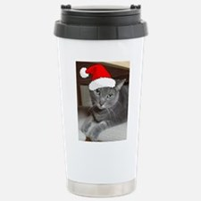 Christmas Russian Blue Cat Stainless Steel Travel
