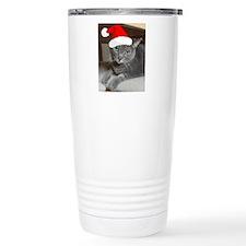 Christmas Russian Blue Cat Travel Mug
