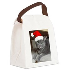 Christmas Russian Blue Cat Canvas Lunch Bag