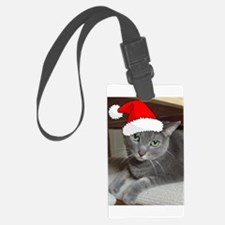 Christmas Russian Blue Cat Luggage Tag