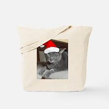 Christmas Russian Blue Cat Tote Bag