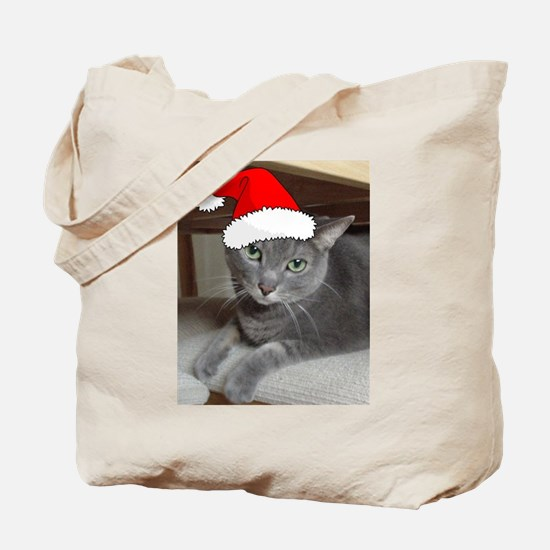 Christmas Russian Blue Cat Tote Bag