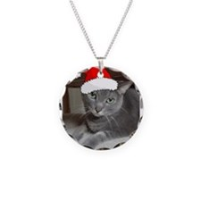 Christmas Russian Blue Cat Necklace
