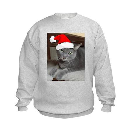 Christmas Russian Blue Cat Kids Sweatshirt