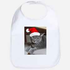 Christmas Russian Blue Cat Bib