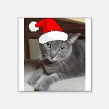 "Christmas Russian Blue Cat Square Sticker 3"" x 3"""