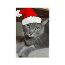 Christmas Russian Blue Cat Rectangle Magnet