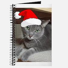 Christmas Russian Blue Cat Journal