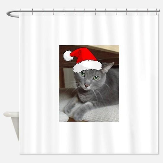 Christmas Russian Blue Cat Shower Curtain