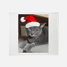 Christmas Russian Blue Cat Throw Blanket