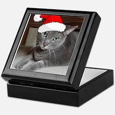 Christmas Russian Blue Cat Keepsake Box