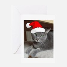 Christmas Russian Blue Cat Greeting Card