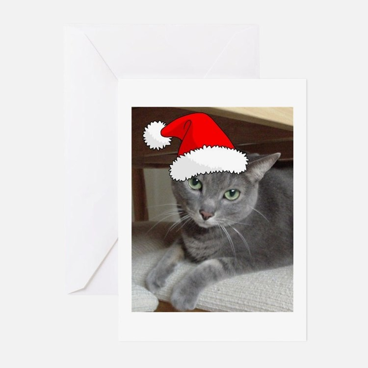 Christmas Russian Blue Cat Greeting Cards (Pk of 1