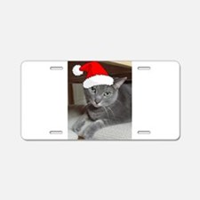 Christmas Russian Blue Cat Aluminum License Plate