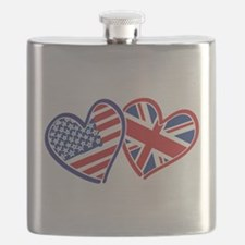 USA and UK Flag Hearts Flask
