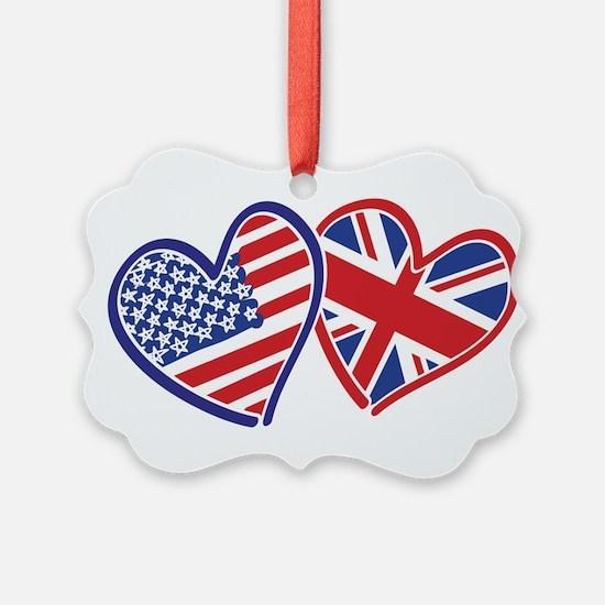 USA and UK Flag Hearts Ornament