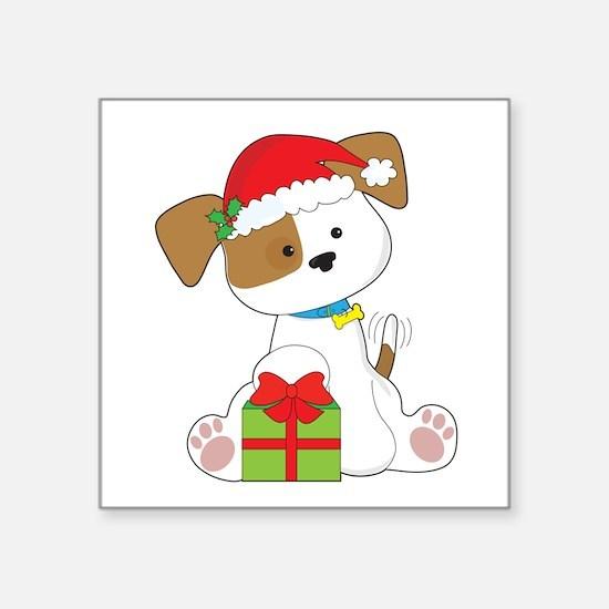 "Christmas Puppy Square Sticker 3"" x 3"""