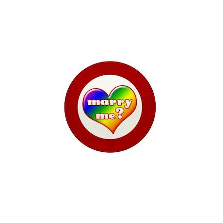 """Marry Me?"" (rainbow) Mini Button"