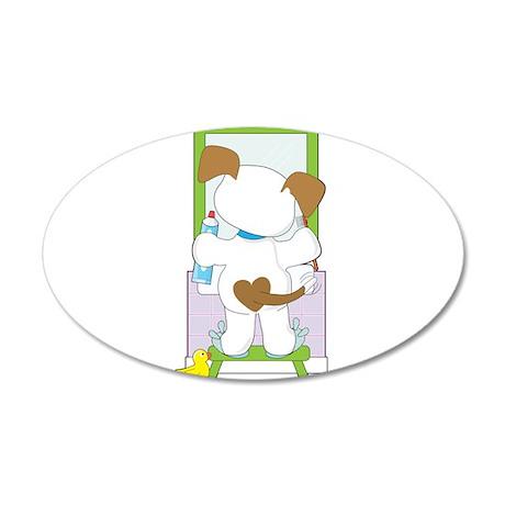 Cute Puppy Bathroom 35x21 Oval Wall Decal