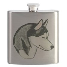 Siberian Husky Black Head Study Flask