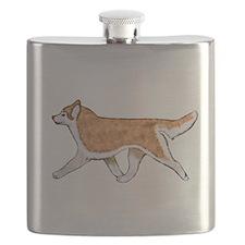 Siberian Husky Red Flask