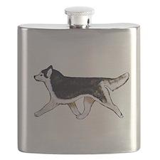 Siberian Husky Black Flask