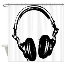 Dj Headphones Stencil Style T Shirt Shower Curtain